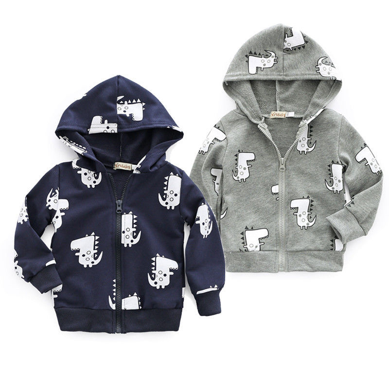 Boys Kids Baby Dinosaur Hoodie Coat Jacket Sweatshirt Top Hooded Zipper Outwear