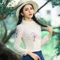 Primavera Y Otoño Nueva Moda Elegante de La Vendimia de Manga Larga Camisa de Gasa Bordado de Las Mujeres de Calidad Superior Blusas Tallas grandes
