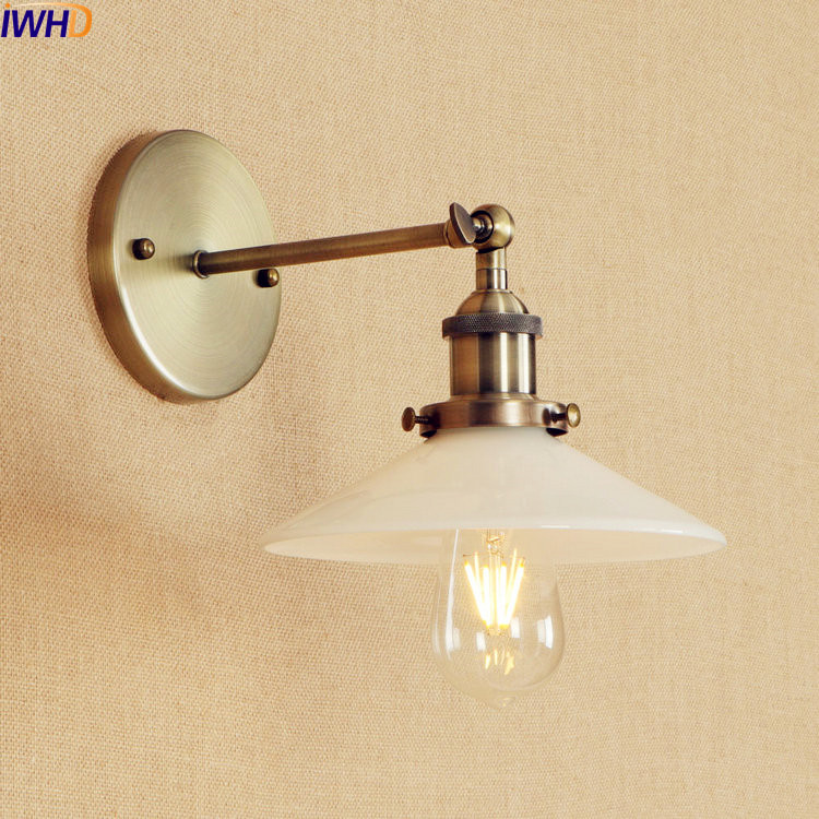 Brass Glass Wall Lights LED Vintage Edison American Home Stair Lighting Living Room Adjustable Arm Industrial