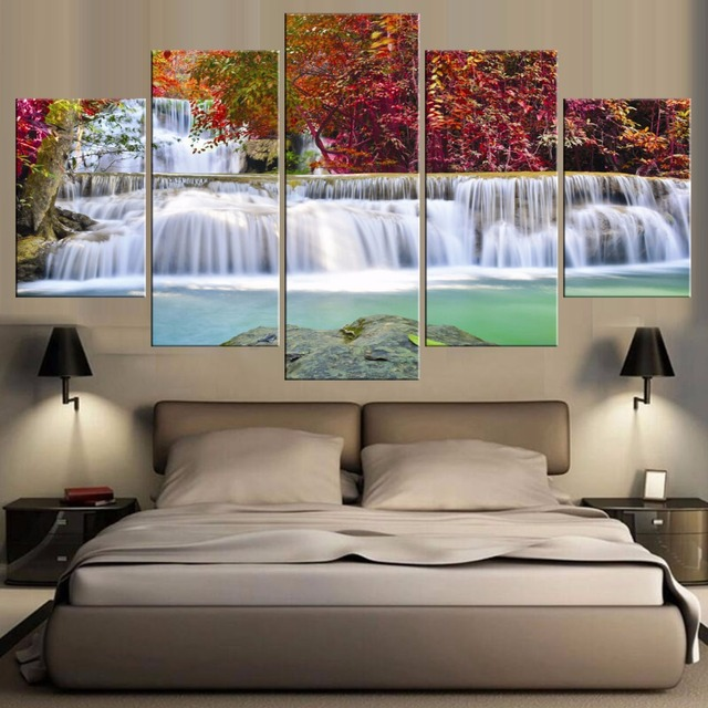 Incredible Us 13 7 5 Pieces Waterfall Painting Canvas Wall Art Picture Home Decoration Living Room Canvas Print Painting Large Canvas Art Unframed In Painting Home Interior And Landscaping Palasignezvosmurscom