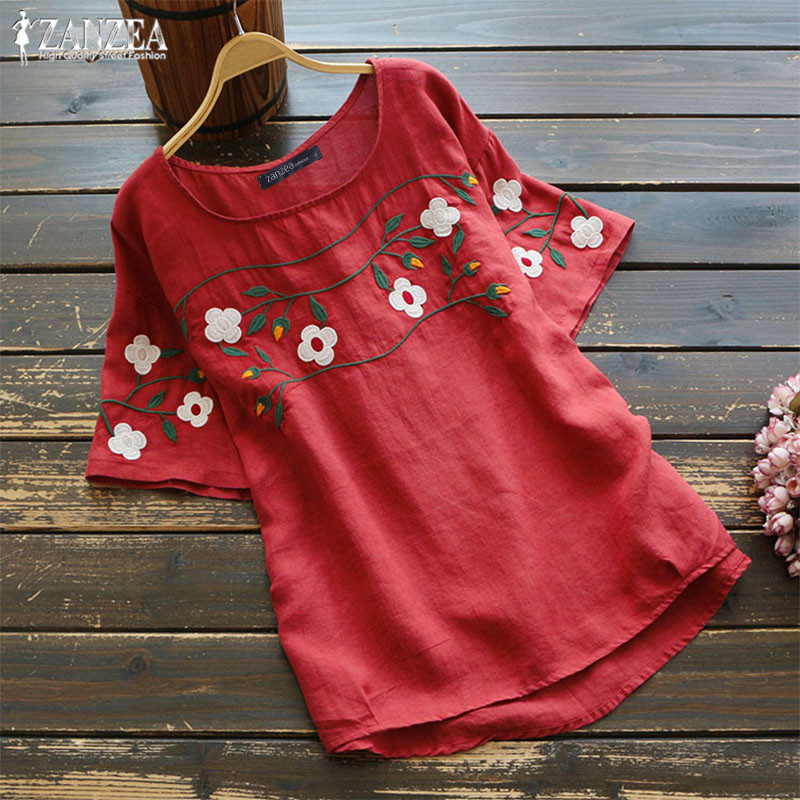 Oversized Women's Embroidery   Blouse   Vintage Linen Tunic Casual White Tops Female Short Sleeve Blusas Woman Summer   Shirt   Chemise