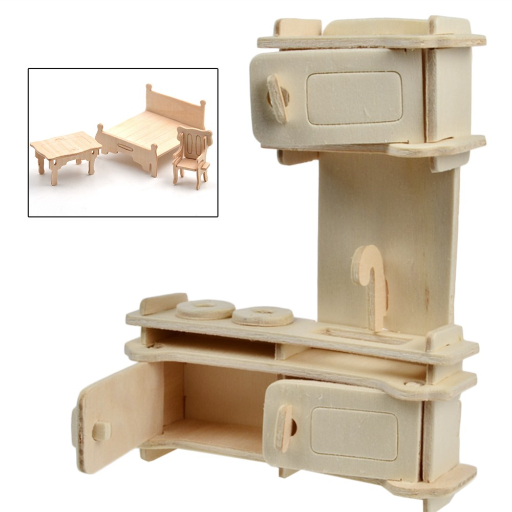 34pcs Dollhouse 3d Furnitures Puzzle Scale Miniature Models Diy Accessories Set