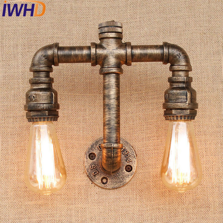 IWHD Loft Retro Iron Water Pipe Lamp Industrial Edison Wall Sconce Switch Vintage Wall Light Fixtures Indoor Lighting Lampara loft style iron edison wall sconce industrial lamp wheels vintage wall light fixtures antique indoor lighting lampara pared