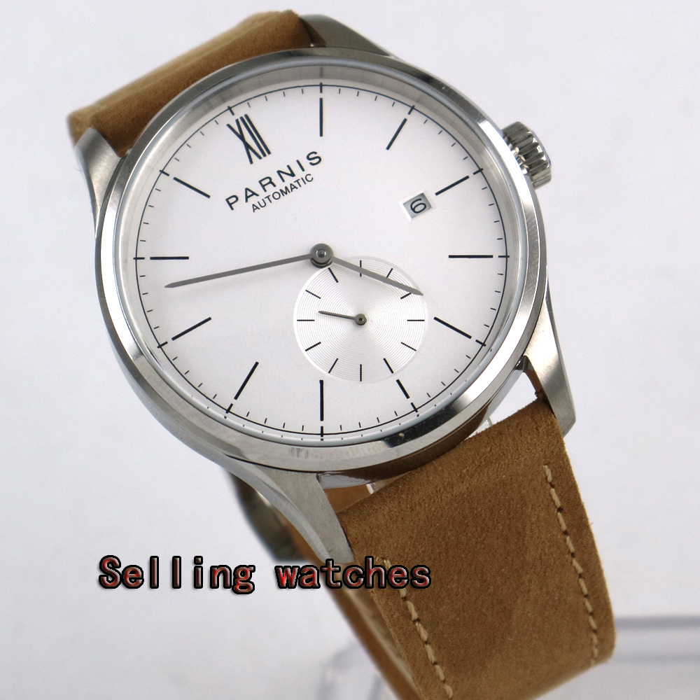 Buy 42mm Parnis White dial  Stainless Steel Case camel strap ST 1730 Automatic movement Men's Watch for only 122 USD