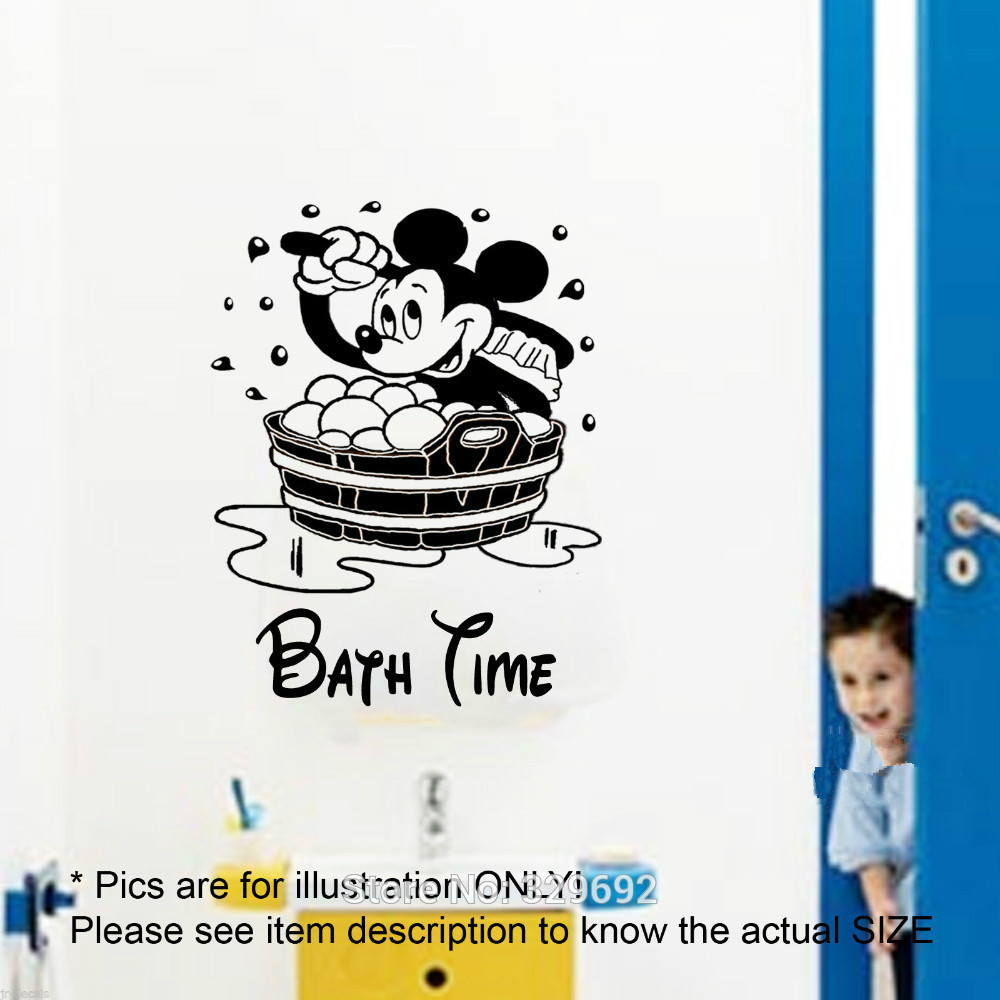 free shipping Mickey Mouse CHILDREN BATH TIME Vinyl Decal Wall Mural Wall Stickers Ho me Decor Wall Art tx-151