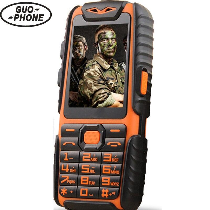 """Цена за Водонепроницаемый guophone a6 прочный power bank телефон с 2.4 """"противоударный 0.3mp динамиком фонарик dual sim старший открытый телефон"""