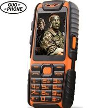 """Водонепроницаемый GuoPhone A6 Прочный Power Bank Телефон С 2.4 """"Противоударный 0.3MP Динамиком Фонарик Dual SIM Старший Открытый Телефон"""