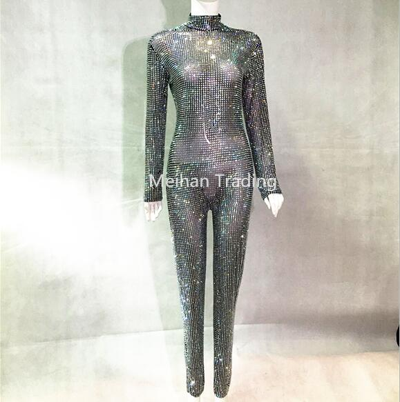 Jumpsuits Fast Deliver Purple Shining Crystals Jumpsuit Fashion Stage Dance Outfit Prom Bodysuit Show Female Singer Show Stage Rompers
