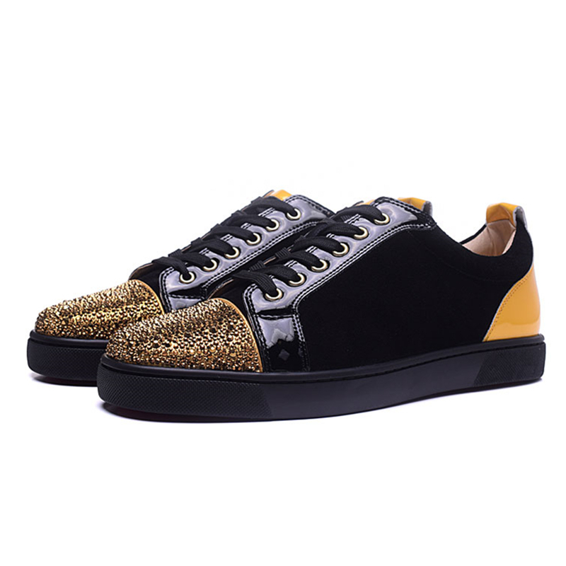 Fashion Suede Leather Patchwork Flock Casual Shoes Luxury Rhinestone Round Toe Lace Up Loafers Runway Trainers Sneakers Men 2018 sexy leopard seude leather mens loafers luxury rivets round toe lace up flats casual shoes trainers ultra boosts tenis feminino