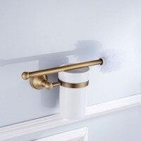 1 Set Antique European Style Brass Bathroom Carving Toilet Brush Set Holder Brush with Ceramic Cup