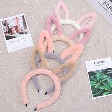 Cute Rabbit Ear Headband Autumn Winter Coral Fleece Hair Band For Girls Plush Headpiece Party Kids Accessories