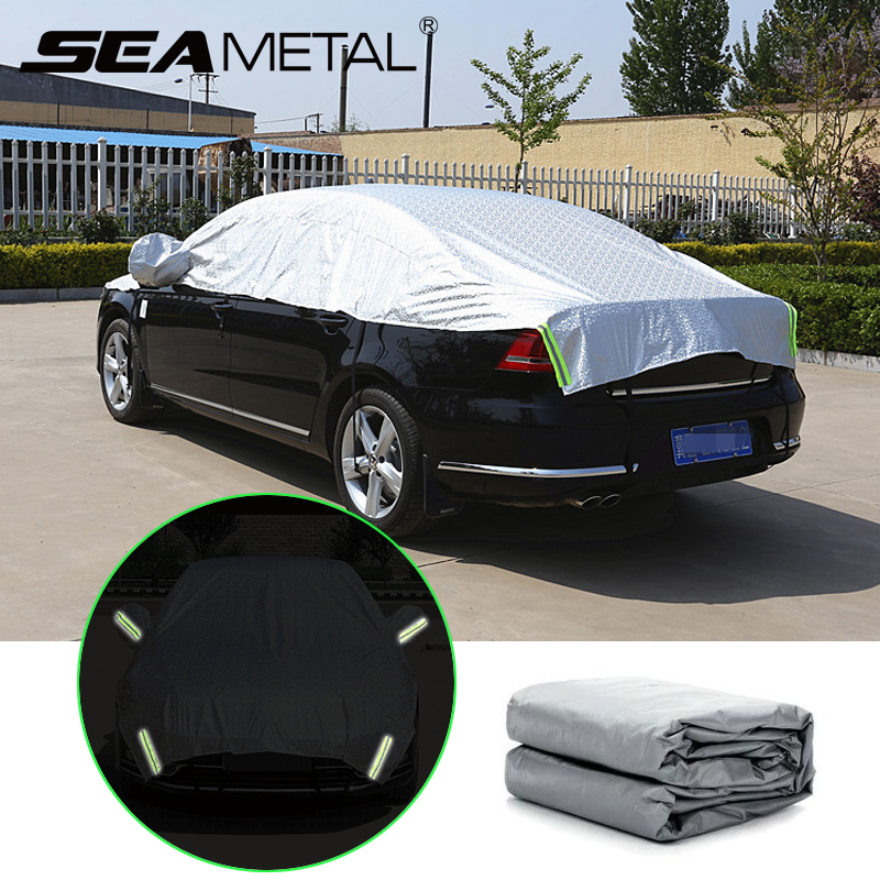 Auto Covers Reflecterende Strip Waarschuwing Auto Waterdichte Zon Proof Schaduw Outdoor Half Auto Cover Rain Protector Covers Auto Styling