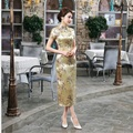 Summer New Gold Chinese Women Traditional Dress Silk Satin Cheongsam Slim Long Qipao Elegant Flower Size S M L XL XXL WC054