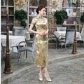 Summer New Gold mujeres chinas tradicionales satén de seda del vestido del Cheongsam Qipao largo delgado elegante flor tamaño sml XL XXL lupa WC054