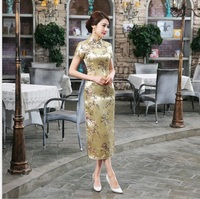 Summer New Gold Chinese Women Traditional Dress Silk Satin Cheongsam Slim Long Qipao Elegant Flower Size