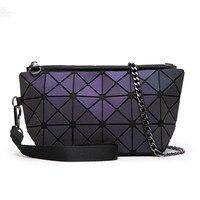 2016 Famous Brand Fashion Women Laser Package PVC Geometric Handbag Female Small Envelope Clutch Chain BAOBAO