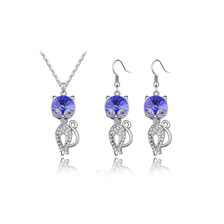 Austrian Crystal jewelry 2018 latest OL style Cat pendant jewelry sets for women (fashion necklace and drops earrings set)