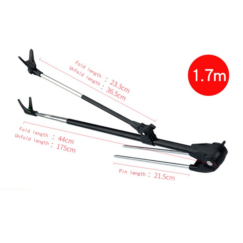 1.7M/2.1M Fish Rod Stand Bracket Angle Adjustable Fishing Rods Holder Telescoping Fishing Tool Hand Rod Holder