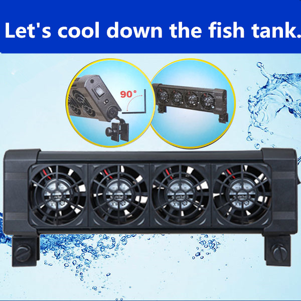 US $19 73 26% OFF|Aquarium Cooling Fan 2/3/4/5/6 Fans Fish Tank Cold Wind  Chiller Wind DC12V Marine Temperature controller 90 Rotating Mounter-in