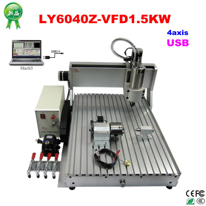 CNC 6040 USB support rotary axis engraving machine with 1.5KW water cooled spindle Mach3 cnc 5axis a aixs rotary axis t chuck type for cnc router cnc milling machine best quality