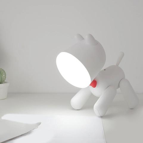 forma do cao led night light silicone animal dos desenhos animados lampada regulavel usb recarregavel