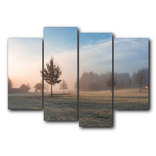 Laeacco Manor Mist Scenery Canvas Prints Painting Home Decoration Wall Art Paintings Picture For Living Room Bedroom No Frame