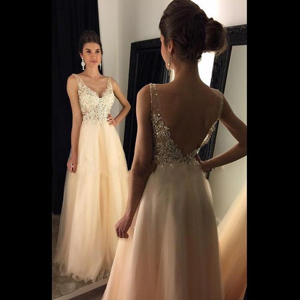 V-Neck Appliques Beaded A-Line Long   Evening     Dresses   2017 Backless Sleeveless Prom Party   Dresses   Formal   Dress   Vestido De Noiva