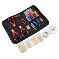DIY Jewelry Tool Sets, Jewelry Making Pliers Wire Earrings Hooks Finidngs Needles Scissors Mixed Color, 22x14.5x3cm