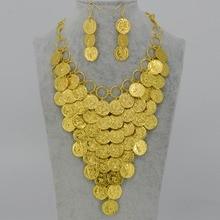 45 CM + 5 CM/Moneda de Oro Collar Pendiente de Las Mujeres, de Metal Coin Collares Grandes de África Joyería Etíope Oro Suerte Regalo #054206