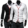 Hot spring and autumn 2016 new business casual men's fashion Slim stitching knit leis cardigan sweater