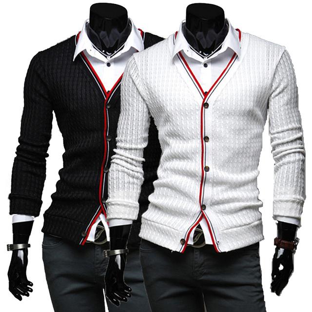 Primavera quente e outono 2016 novos homens casuais negócio da moda colares de costura Magro malha cardigan sweater