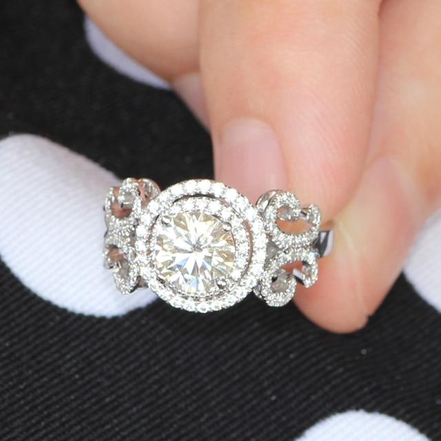 Genuino de 14 K 585 de Bodas de Compromiso de Oro Blanco 1 Carat ct Lab Grown Anillo Diamante Moissanite Prueba Positve Joyas de Diamantes