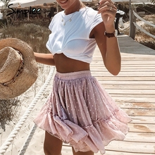 Simplee Casual polka dot mini women skirt High waist A line korean tassel pink summer skirt Sexy ruffle beach female skirts 2019