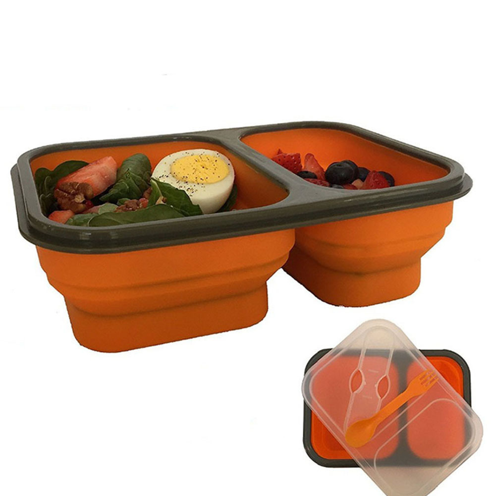 Foldable Lunch Box With Spoon Collapsible Bento Box Silicone Picnics