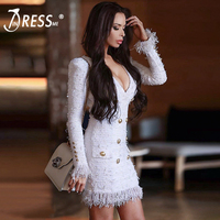INDRESSME 2018 New Women Fashion Deep V Double Breasted Dress Long Sleeve Party Club Sexy Jacket Office Lady Solid Blazer