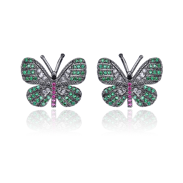 XIUMEIYIZU Lovely Luxury Brass Copper Micro Pave Cubic Zirconia Butterfly Stud Earrings for Women Girls Gift