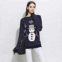 סוודרי Jumper נשים כחול כהה גריי סרוג סוודרים חמוד חג המולד פתיתי שלג שלג סתיו חורף סוודרי 2018 למשוך Femme