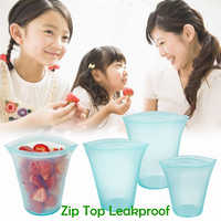 Zip Top Leakproof 3 Pcs Silicone Food Storage Containers Household Stand Up Zip Shut Container Cup Bowl for Kitchen Out