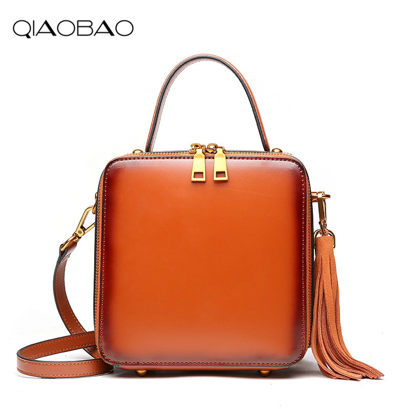 QIAOBAO 2018 Cow Leather messenger crossbody flaps bag fashion feminina handbags women shoulder Tassel bolsa sac a main femme de women small bag crossbody bag shoulder messenger bags leather handbags women famous brands bolsa sac a main femme de marque