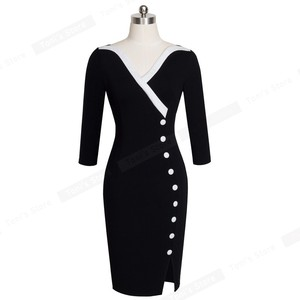 Image 2 - Güzel sonsuza kadar olgun zarif seksi v yaka şık düğme iş elbisesi ofisi Bodycon kadın 3/4 kollu kılıf kadın elbise B335
