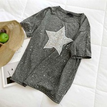 Shine star, женские футболки, лето, новинка, круглый вырез, короткий рукав, свободный, серый, расшитый блестками Топ, футболки, модная женская верхняя одежда, топы