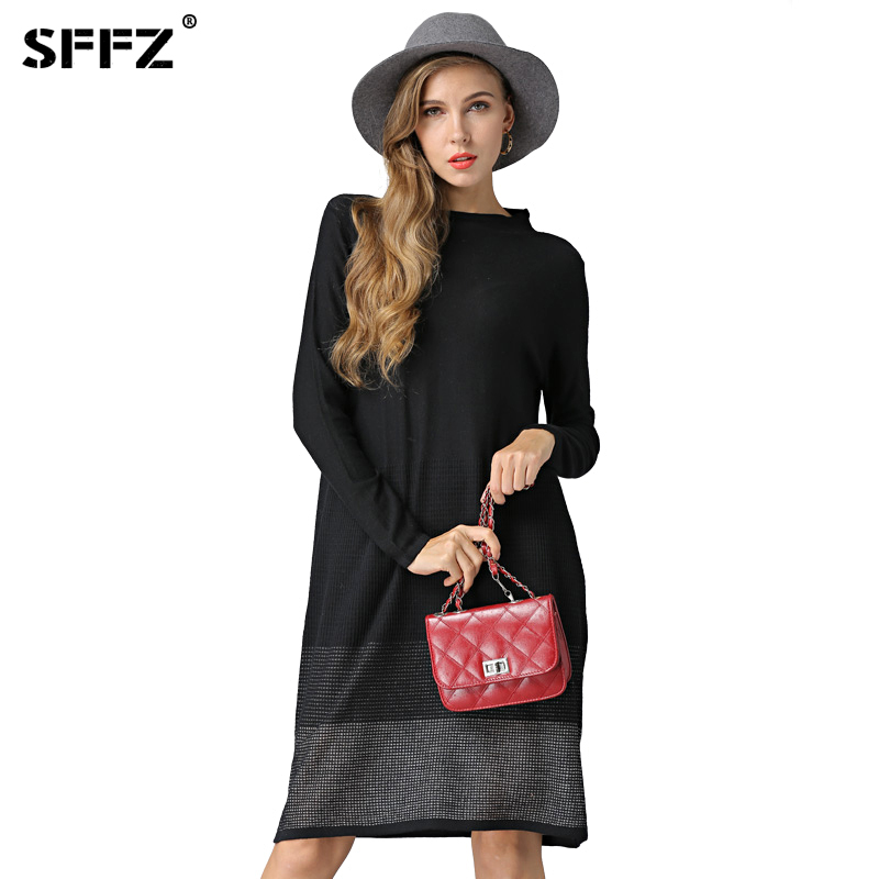 SFFZ Female Christmas Sweater Dress Knitted Solid Half-Turtleneck Lady Pullovers Long Sleeve Oversized Pullover Feminino Clothes