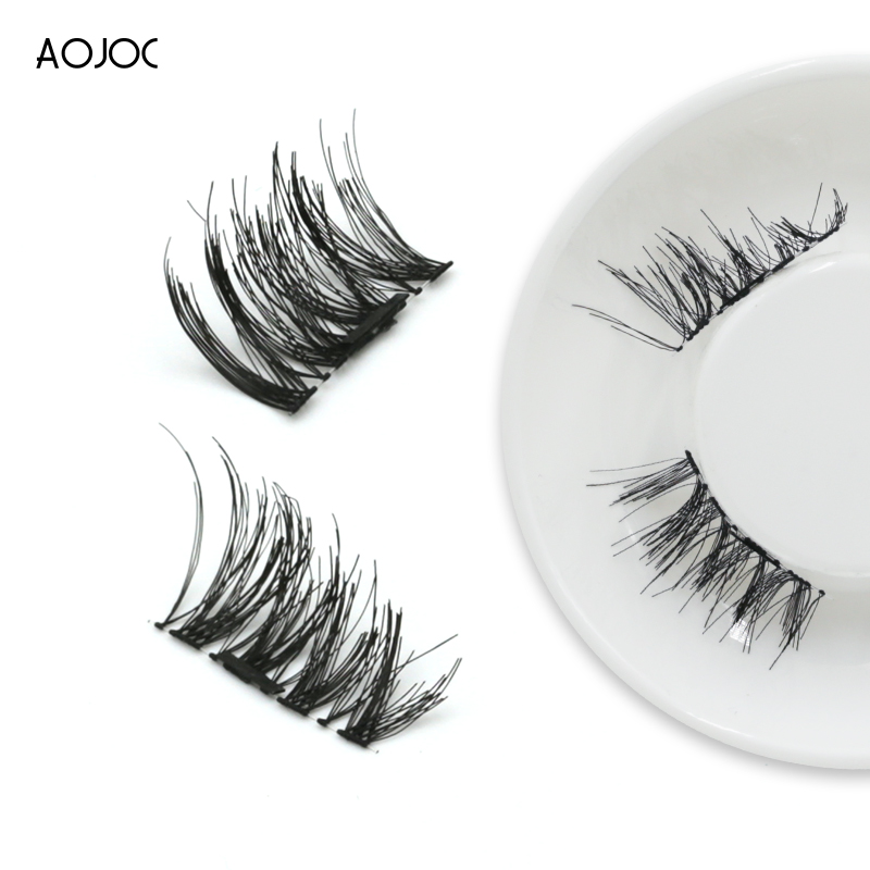 4 Pcs/2Pairs 3D Magnetic False Fake Eyelashes ORIGINAL LASH Eye Makeup Accessories Short Magnet Eye Lashes Extensions Dropship