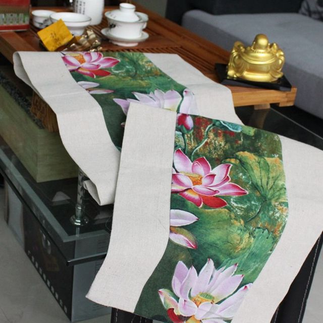 Lotus Pattern Linen Cotton Table Runner Wedding Party Decoration Solid Color Runners