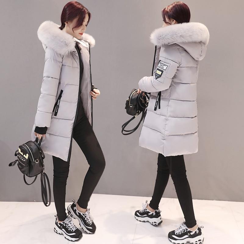 Nouvelle Longue Veste Fourrure La Bas Femme Taille Le Vers Femmes W132 De rose Coton Grand Noir vert Hiver Slim gris Mode Plus blanc Manteau Col Capuche 2016 Cwqpx5Xt