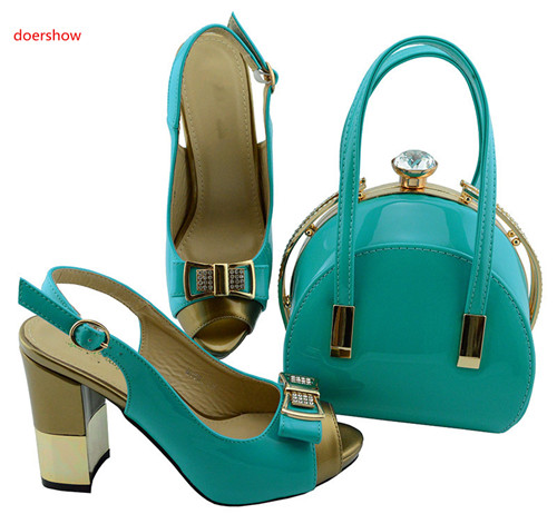 doershow Italy Design Italian Matching Shoe and Bag Set African Wedding Shoe and Bag Sets Women Shoe and Bag To Match BB1-19 shoe and bag to match italian african wedding shoe and bag sets women shoe and bag to match for parties doershow bch1 16