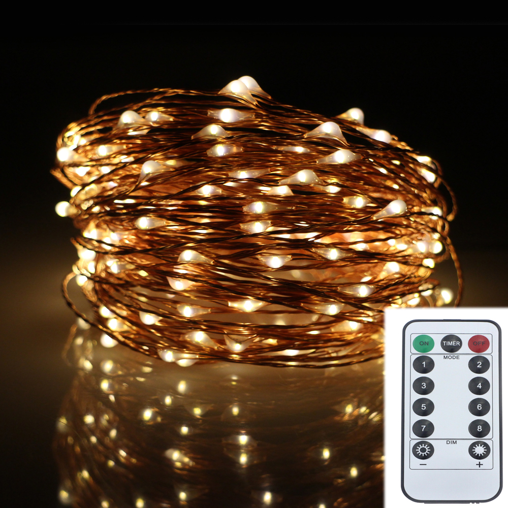 String Lights With Battery: 20M 200LED 8Modes Copper Wire Battery Operated Led String