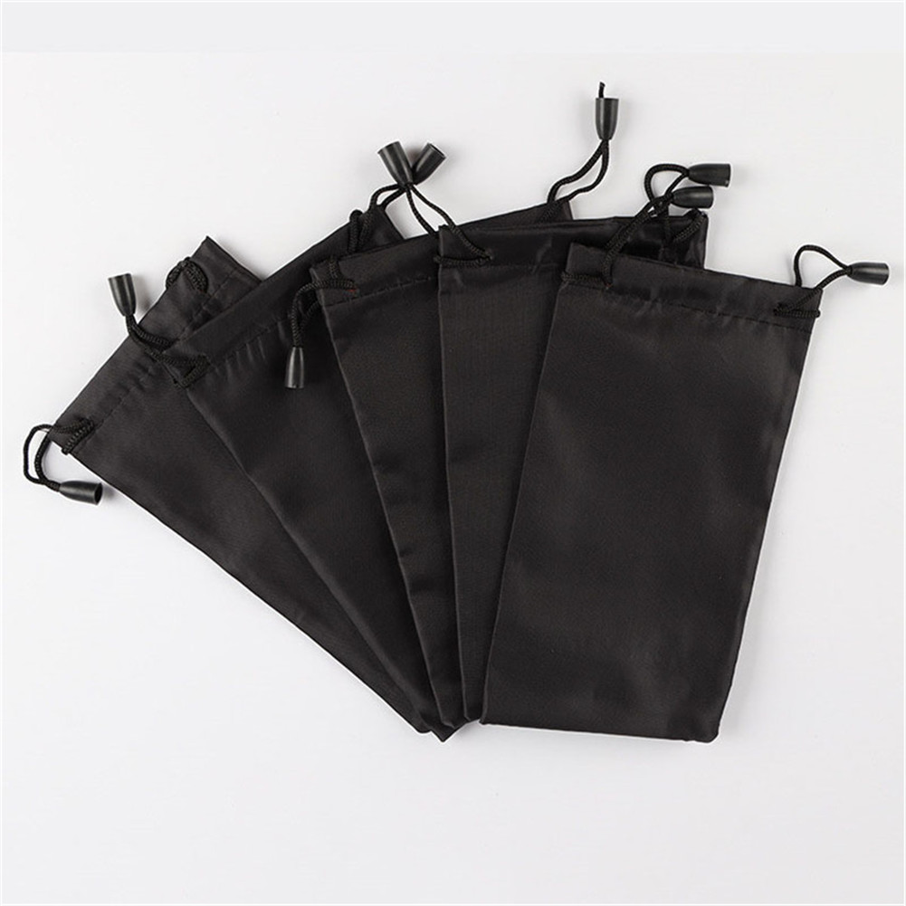 18x9cm Black Drawstring Pouch Glasses Jewelry Lipstick Storage Bag