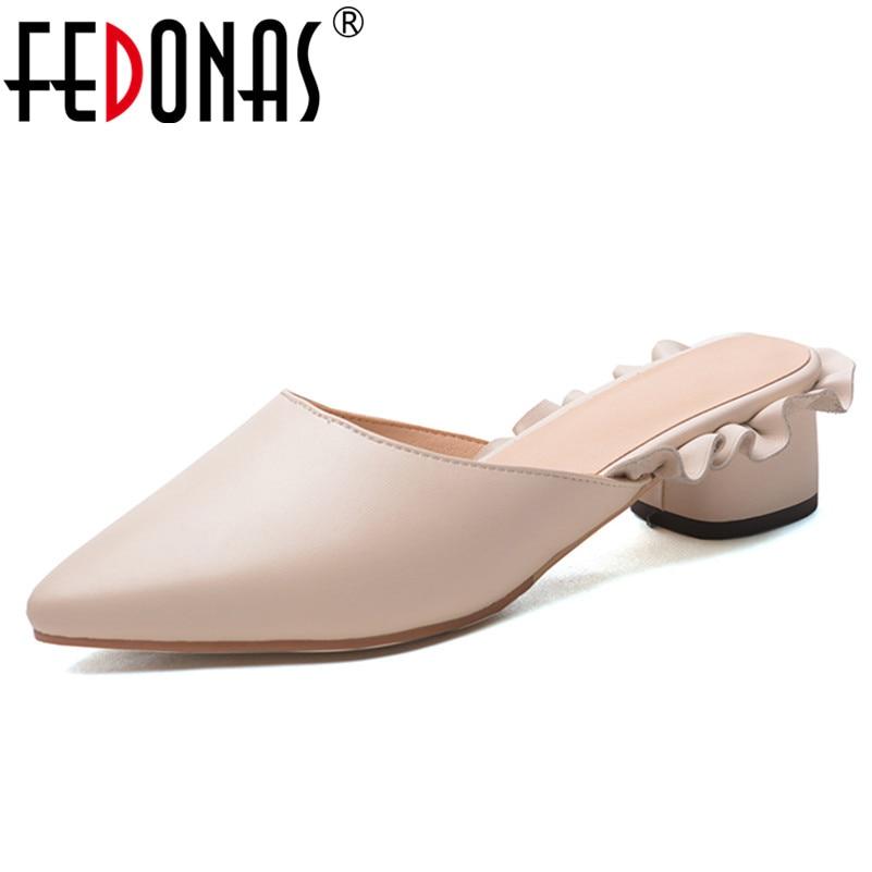 FEDONAS 1New Women Mules Pumps Elegant Genuine Leather High Heels Shoes Summer Office Lady Ruffles Slingbacks Brand Shoes Woman цена