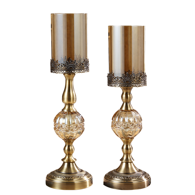 Hurricane Candleholder Bronze Luxury Dining Table Decoration Candle Holders For Home Decor Living Room Decorations Gifts